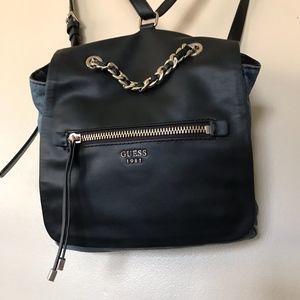 Guess Bags - GUESS Sammie Small Denim   Leather Backpack 05c12ac042b93
